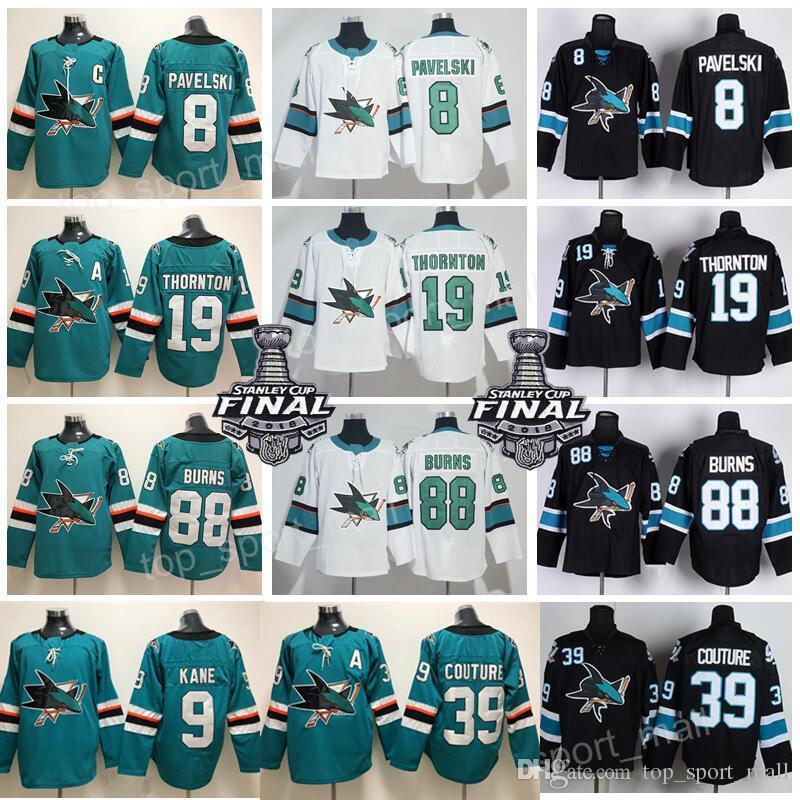 new styles ca904 d5b90 Men 88 Brent Burns San Jose Sharks Jersey Hockey 8 Joe Pavelski 19 Joe  Thornton 39 Logan Couture 9 Evander Kane Hertl Jones Green Black