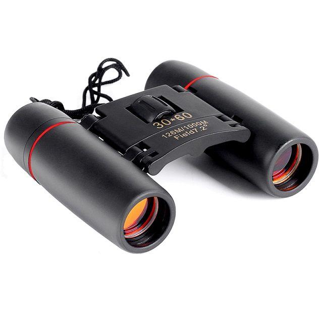 Mini binoculares 30X60 Plegables con visión nocturna Binoculares Zoom Óptico Telescopio Len para observación de aves al aire libre caza caza acampada