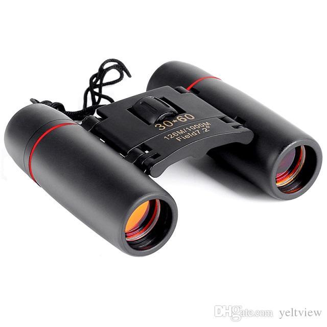 Mini Prismáticos plegable con la visión nocturna de los prismáticos telescopio óptico del zumbido Len para la observación de aves viaje de campamento de caza con el paquete