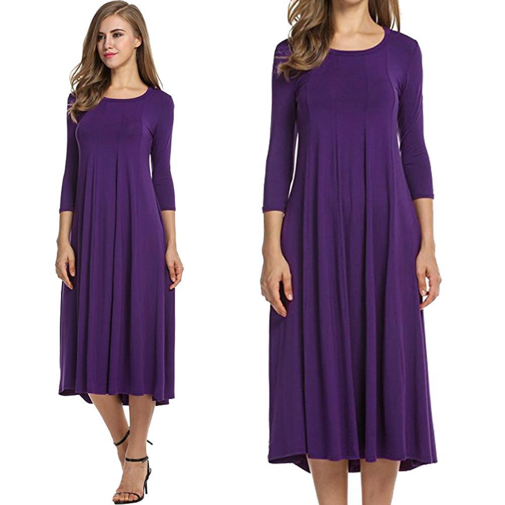 3b47c7d5d748 Vestido de mujer con gran oscilación 3/4 vestido de punto de cuello redondo  casual de otoño Vestido de verano de fondo negro Vino púrpura marino