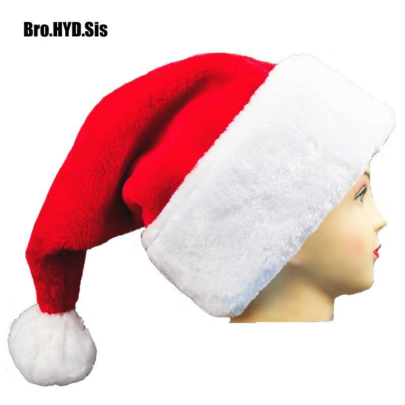 a6e47ce4abc Compre Grueso Grande Adulto Felpa Sombrero De Navidad Navidad Santa Claus  Gorras De Cosplay Hombres Mujeres Chiristmas Fuentes Del Partido  Decoraciones A ...