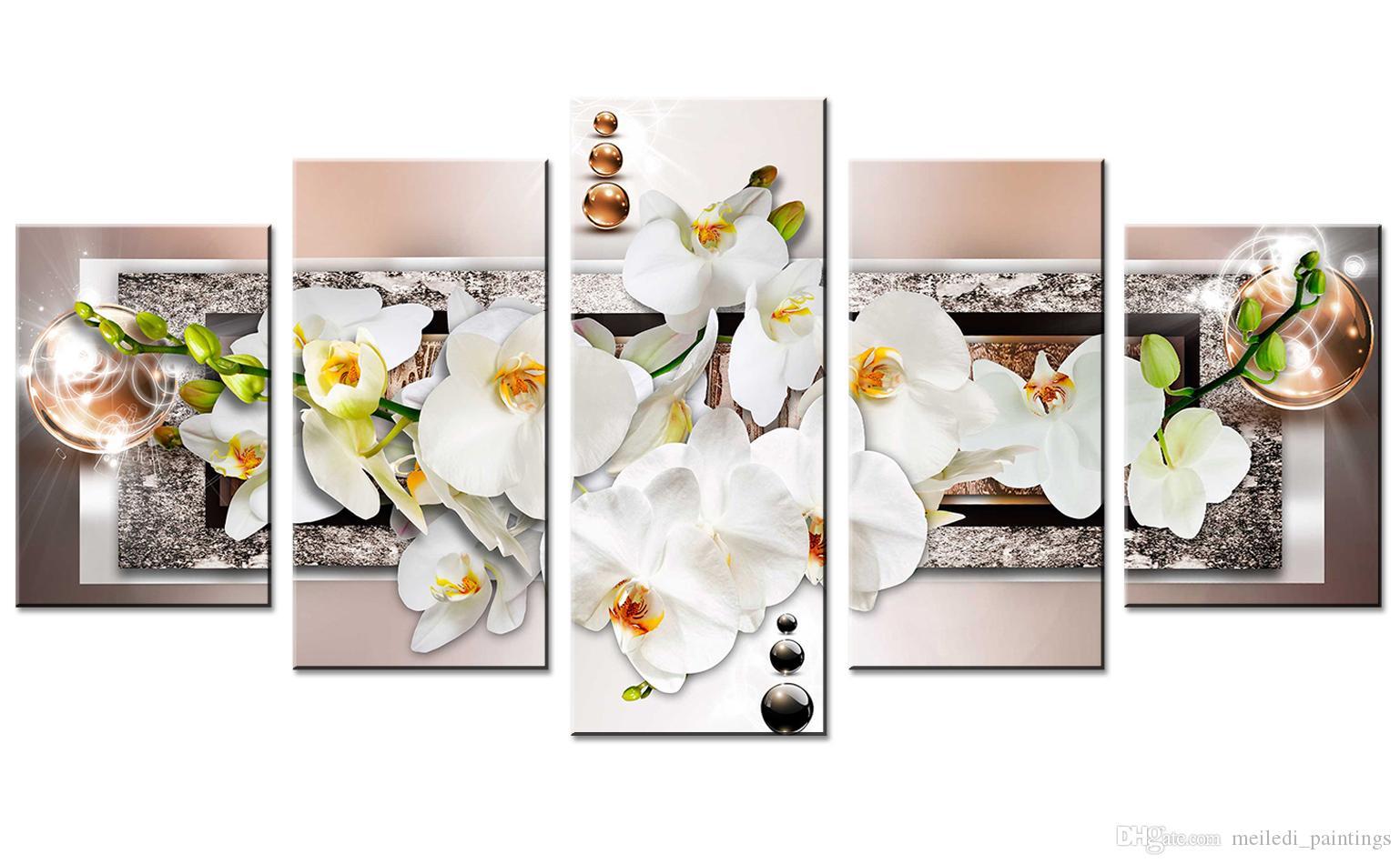 Fünf Kunstgemälde aus weißen Orchideen sind auf Leinwand und moderne  Metope-Kunstbilder schmücken das Schlafzimmer mit rahmenlosen Geschenken