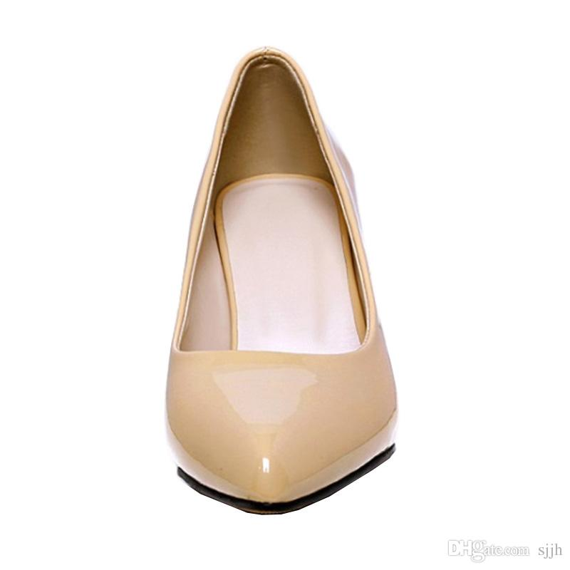 SJJH 2018 Patent Leather Pumps with Pointed Toe and Chunky Heel Elegant Working Shoes for Fashion Women with Large Size Available A116