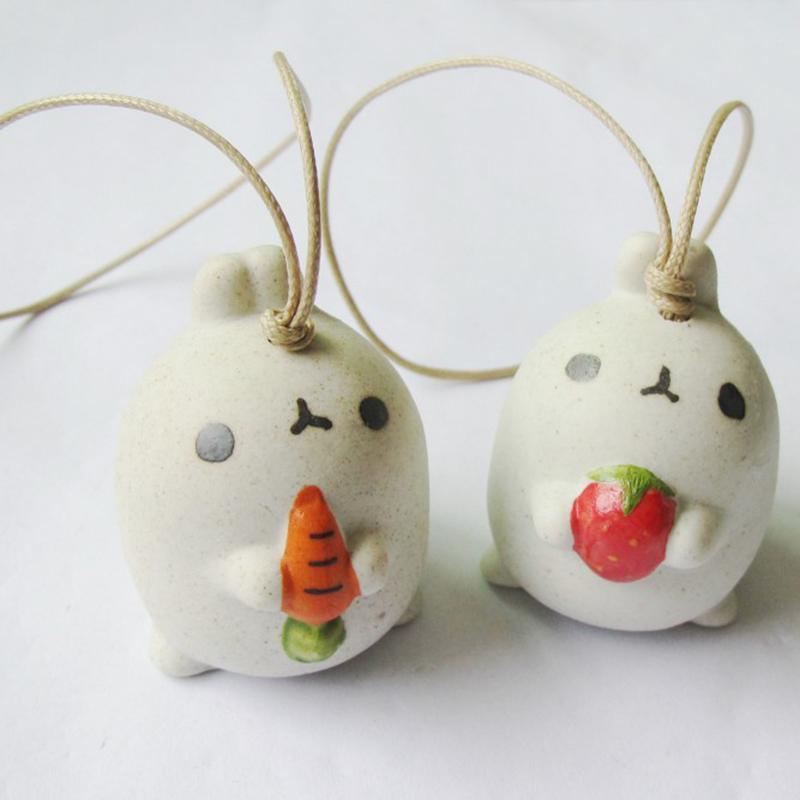 1 stück Nette Keramik Kleines Kaninchen Windspiele Auto Ornamente Hängen Glocke Anhänger Tier Handwerk für Freund P20