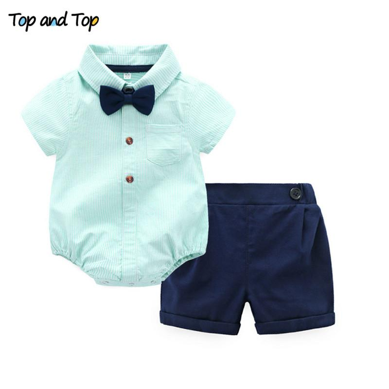 a0be6e1cb Top and Top Summer Baby Boys Gentleman Striped Clothes Sets Cotton Short  Sleeve Rompers Shirts Shorts Bow Tie 3pcs/set