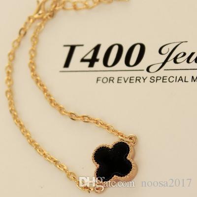 Papillon trèfle Bracelets Vintage coeur rouge noir pour filles cadeau Haute qualité lisse polissage alliage bracelets d'amour