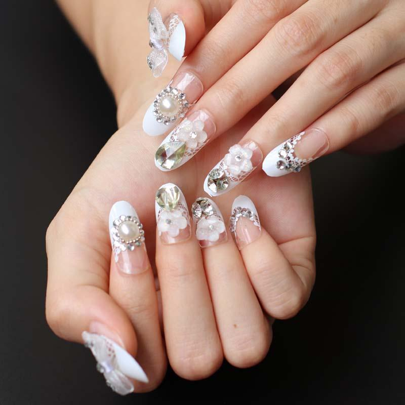 2018 French Bride White Butterfly False Nails Nail Art Design Nail