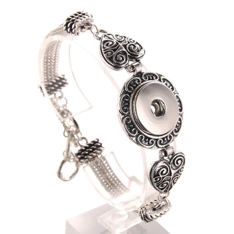 18mm Snap Button Bracelet Bangles Vintage Silver Bronze Bracelet Snap Jewelry Charm Bracelet For Women Adjustable 9438