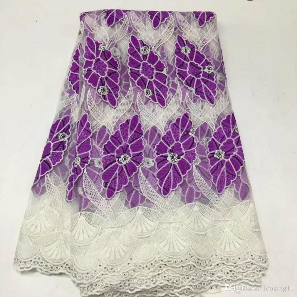 5 yardas / pc Maravilloso bordado de encaje de seda con leche africana estilo blanco y tela de algodón púrpura para el vestido BM3-1
