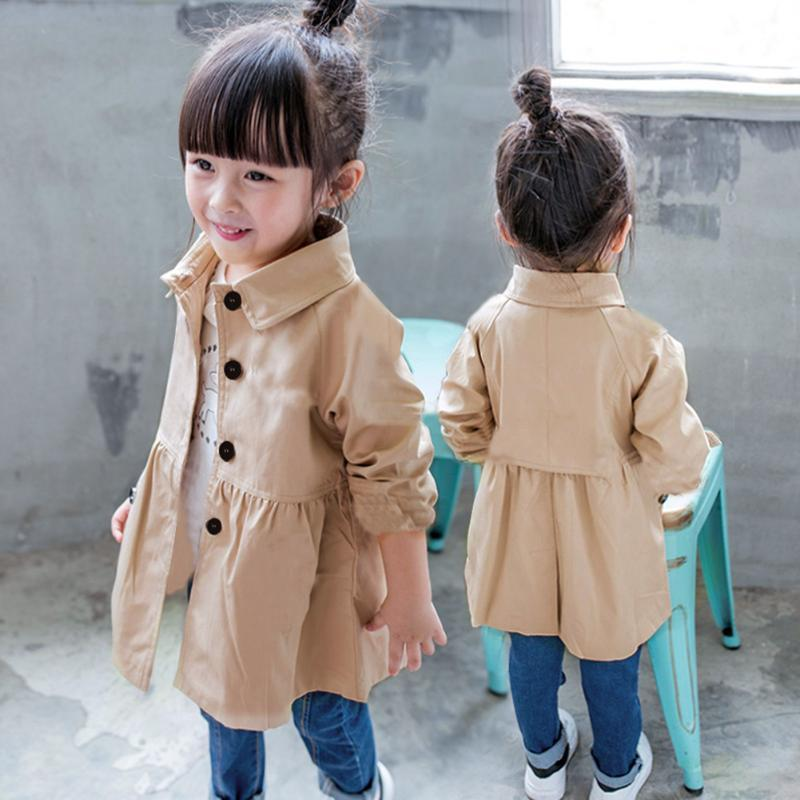 81b78f1a3 Autumn Spring Baby Girl Trench Coat Long Jacket Kids Turn Down ...