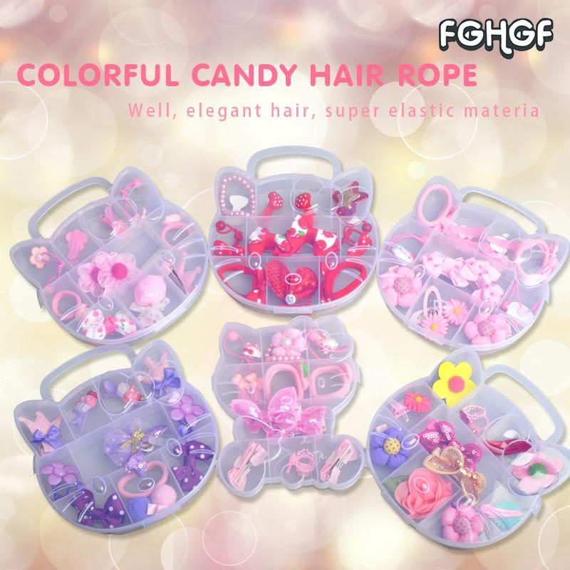 f57911ffa Fashion Children Cute Girl Baby Headwear Bowknot Hello Kitty Hair Clips Gum  Elastic Bands Hair Accessories Barrettes Boxed Bridesmaid Hair Accessories  Girls ...