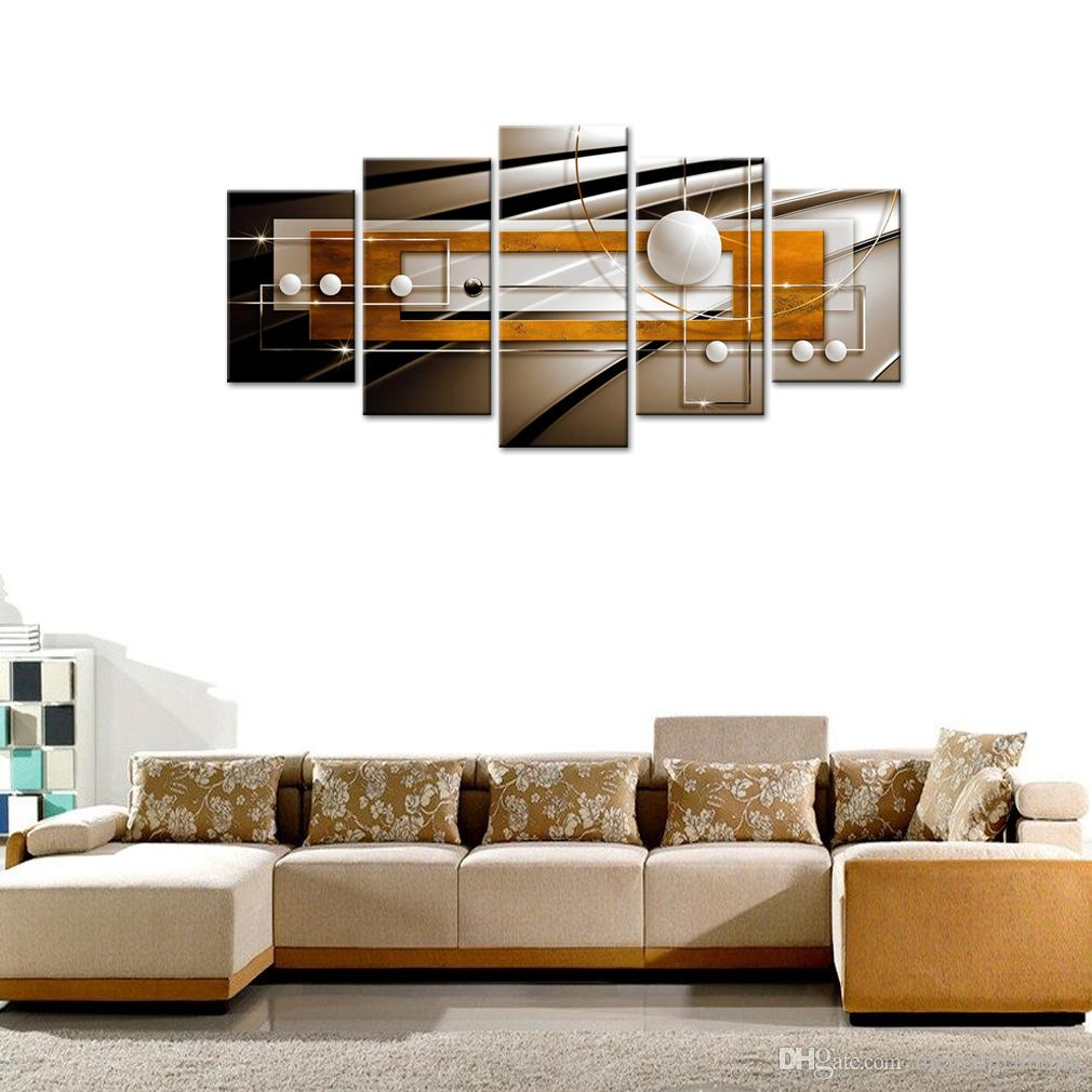 Golden and Black Frame Painting on Canvas Print Art Huge Modern Wall Decor Abstract Geometric Contemporary Artwork Decorations