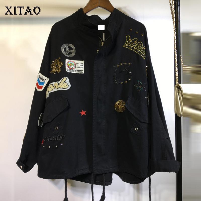 4621a25f3a [XITAO] 2018 Autumn New Korea Women Rivet Decoration Patch Designs Short  Coats Female Stand Collar Full Sleeve Jackets GWY1719