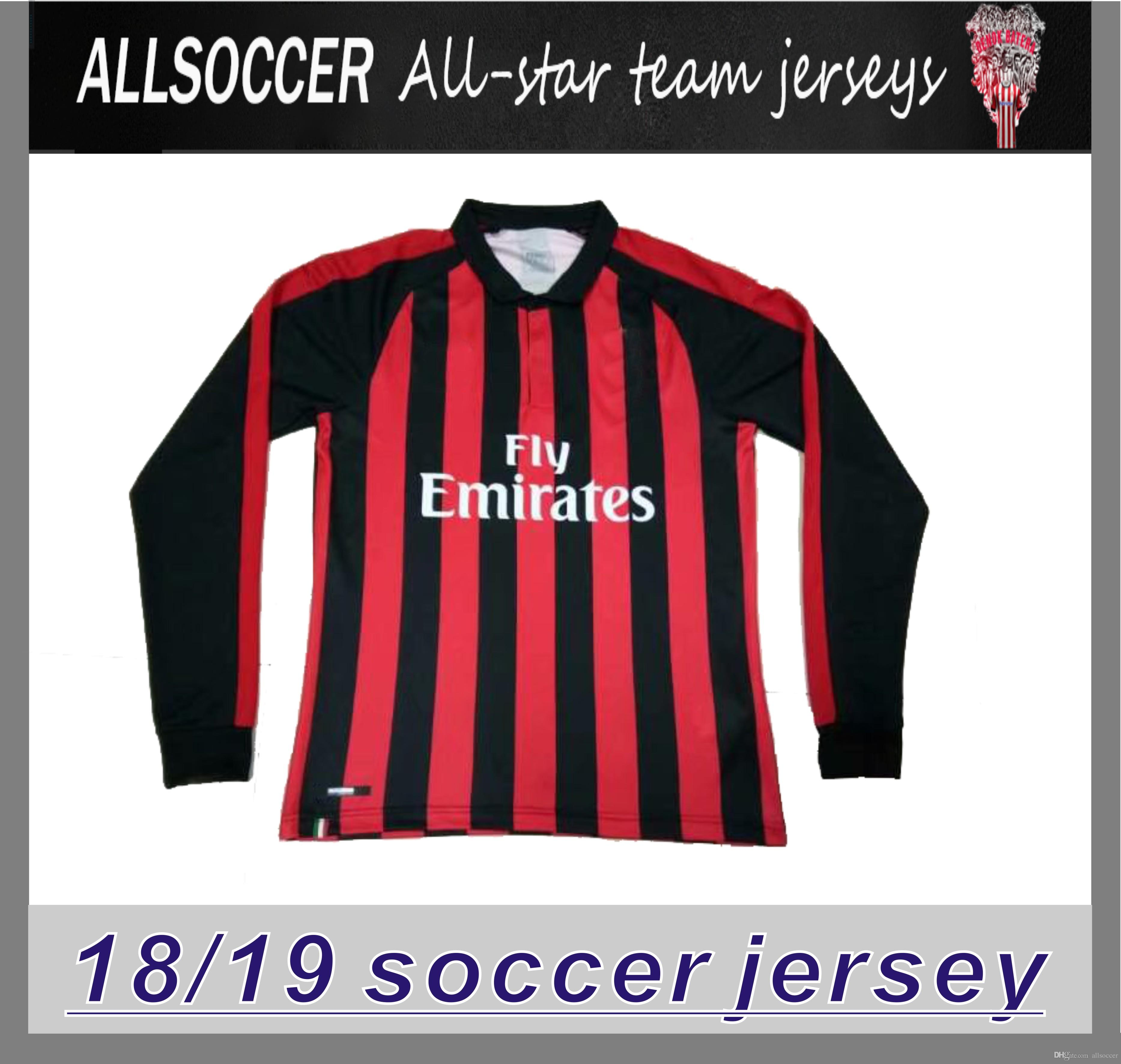 2798e6be4a1 2019 18 19 AC Home Long Sleeve Soocer Jersey HIGUAIN CALABRIA MONTOLIVO  BACCA MENEZ Soccer Jerseys 2019 AC Football Shirts Best Thai Quality From  Allsoccer
