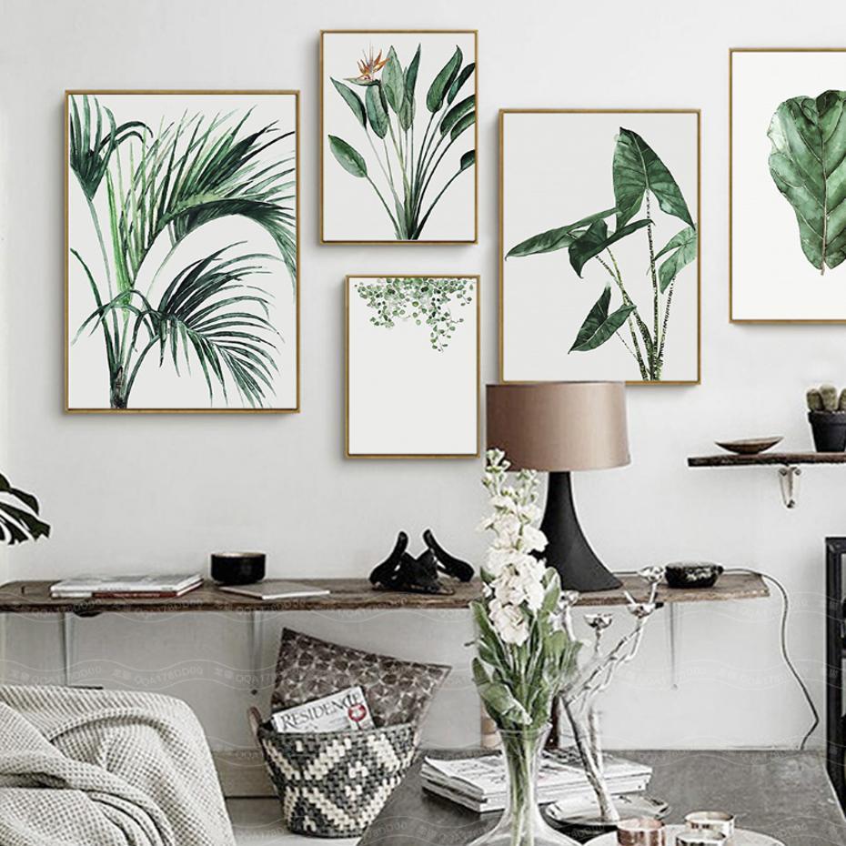 Acheter Aquarelle Vert Plantes Feuilles Peintures Sur Toile Nordique