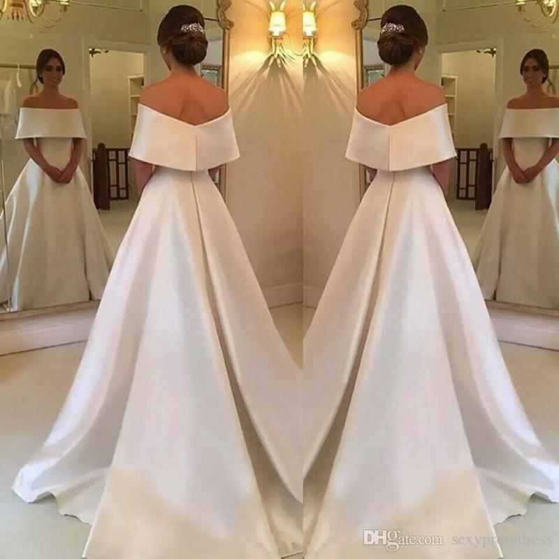 09e9e73d9d3d Elegant White Off The Shoulder Evening Gowns Simple A Line Sweep Train Prom  Dresses Satin Saudi Arabic Women Formal Party Dress Cheap Spree Evening  Dresses ...