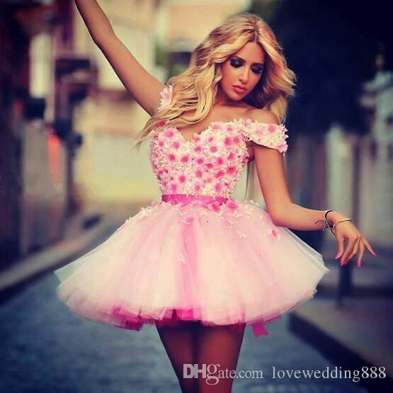 Short Pink Off Shoulder Sexy Girls Homecoming Dresses Newest Hand Made Flowers Dancer A Line Prom Party Dress Cheap