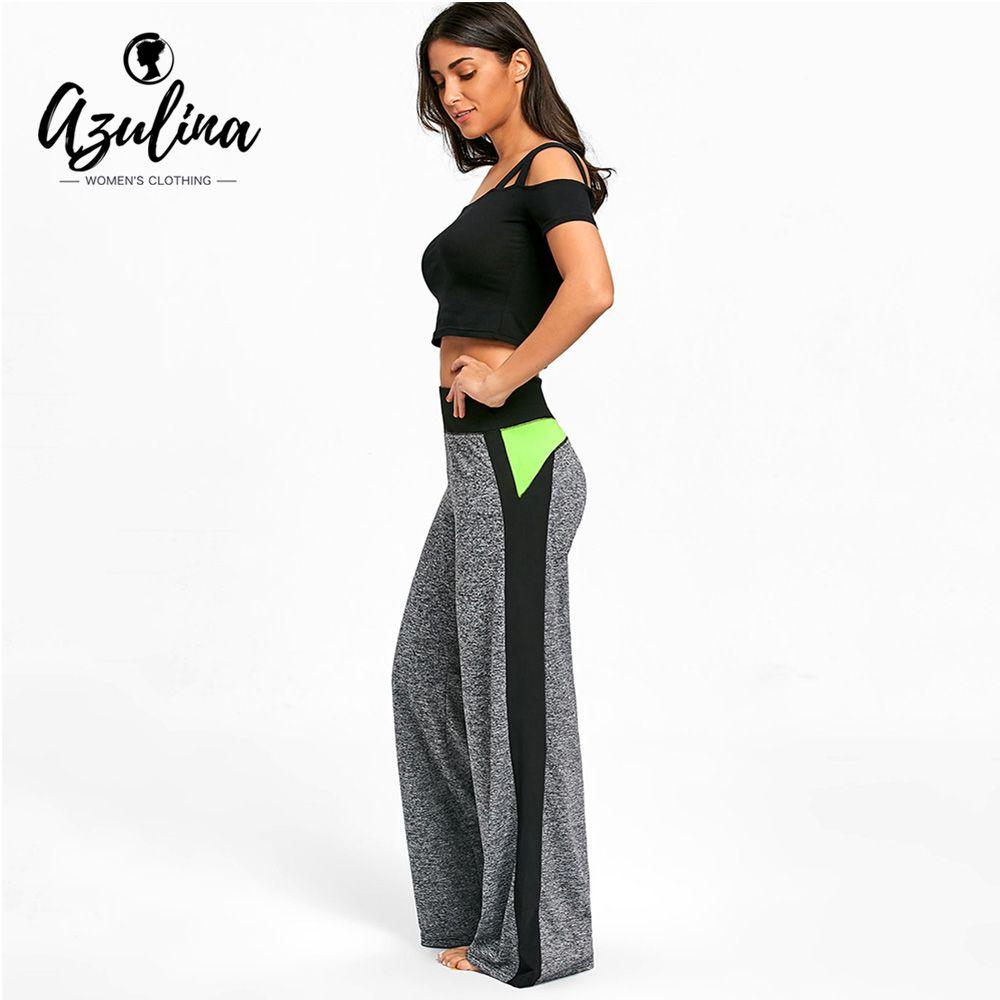 f535e2d0affe7 2019 AZULINA Loose Elastic Waist Pants For Fitness Color Block High Waist  Wide Leg Yoga Pants Sport Leggings Women Fitness Leggings From Jaokui