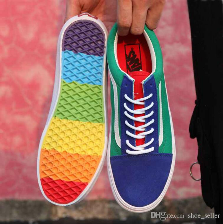 004f54929281be New Old Skool Rainbow Skate Shoes Canvas Casual Sneakers Colorful Soles  Mens Womens Sean Wotherspoon Skateboarding Trainers Size 36 44 Walking Shoes  Flat ...