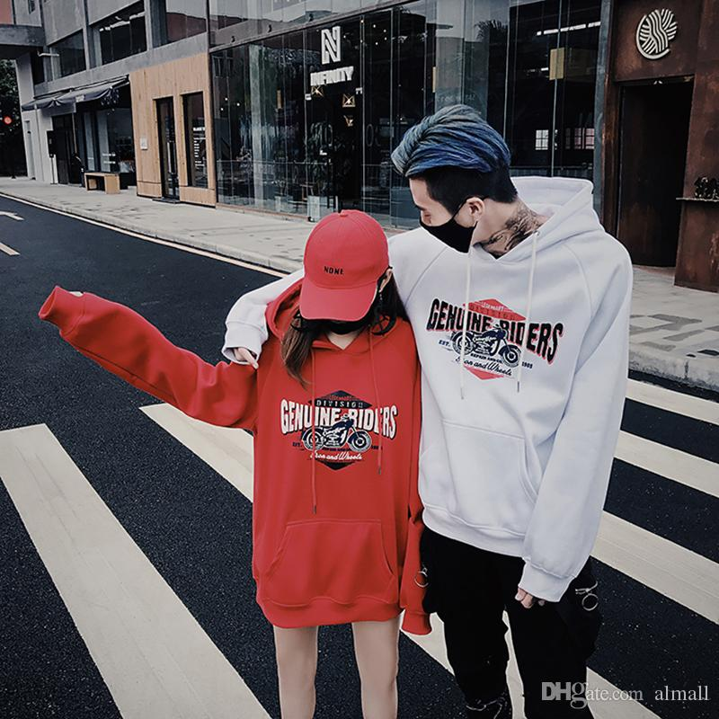 1d6e6c610e Fashion Couples Sweatshirts 2018 Woman And Man Casual Hip Hop Letter Long  Sleeve Hoodies Lovers Sweatshirt Couple Clothes Black Online with  $23.96/Piece on ...