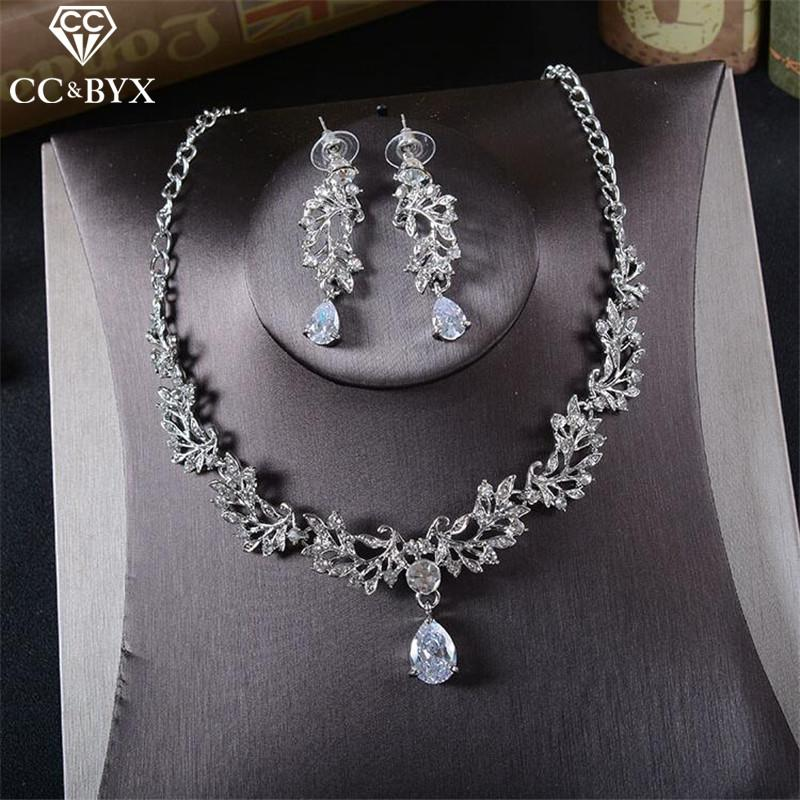 92d3862e69 CC Jewelry bridal jewelry sets necklace pendants earring wedding party  accessories for women crystal collier free shipping TL229