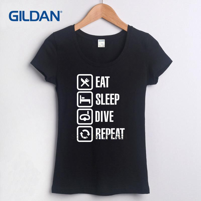 Compre Eat Sleep Dive Repetir 2018 Camiseta Mujer Marvel Camiseta Algodón  Camiseta Simple Rouge Cloth A  16.59 Del Dhshop02  55b5527e97341