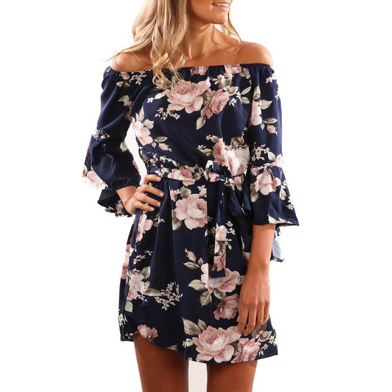 d4ff64257e6 Women Summer Dress 2019 Sexy Off Shoulder Floral Print Boho Style Chiffon Beach  Dresses Short Party Dresses With Belt Vestidos Blue Lace Maxi Dress Women  ...