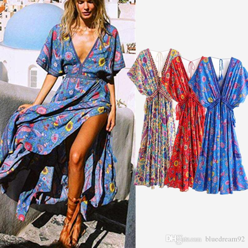 84b98340803 Bohemian Printed Plus Size Women Dresses Summer Casual Long Designer Dresses  European Fashion Womens Clothing Maxi Beach Dress Dresses Prom Dresses From  ...