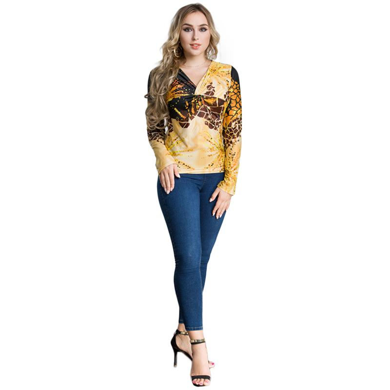 ab6963c0 New Fashion Women Plus Size Leopard Print V Neck Long Sleeve T Shirt  Twisted Front Oversize Casual Party Tops Pullover Yellow Fitted Shirts T  Shirt Sale ...