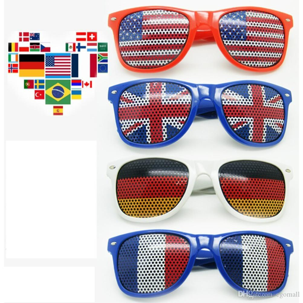 36 Style Bar Party Fans Sunglasses For National Flag 2018 World Cup Football Festival Fans Sunglasses Party Favor Gifts DHL SHip
