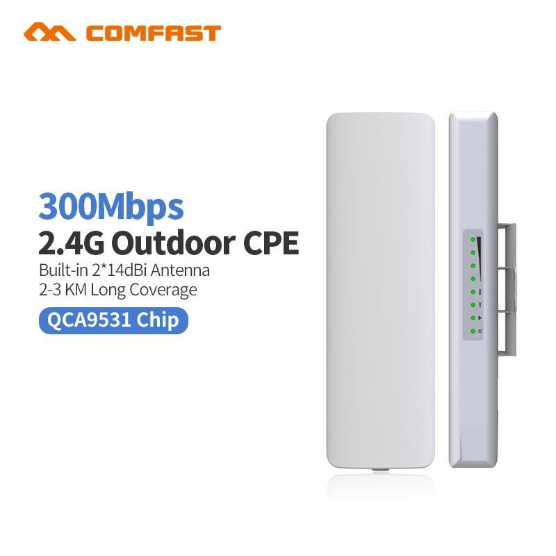 2pc Comfast CF-E314N Wireless Outdoor WIFI Router CPE 300M Signal Amplifier  WIFI Access Point POE Network Bridge Nanostatation