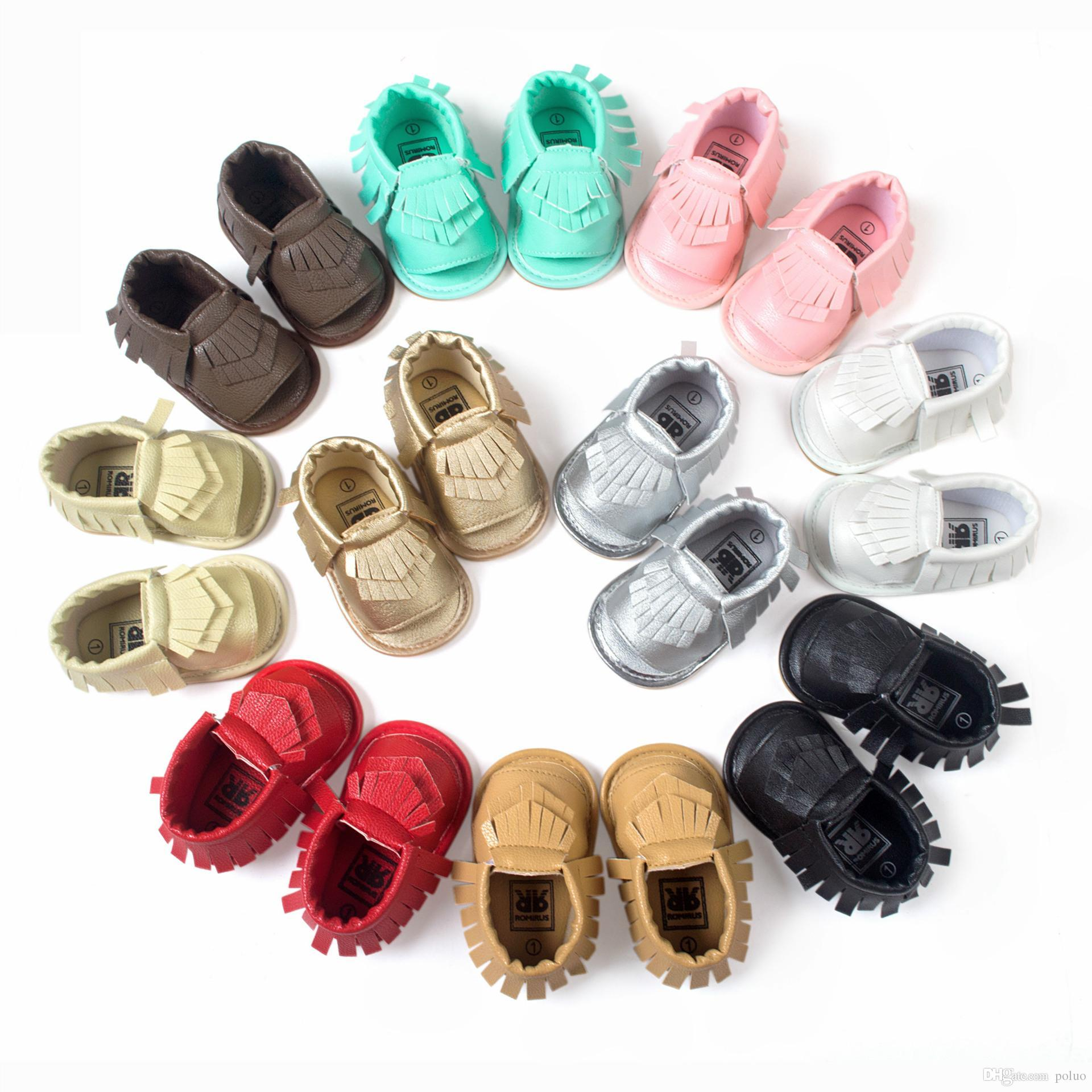 f7c89c617c57 2019 Wholesale Summer Style 2017 New Designer Baby Moccasins For Newborn  Boy Girl Fashion Fringe Boots Rubber Sole Unisex Leather Baby Shoes From  Poluo