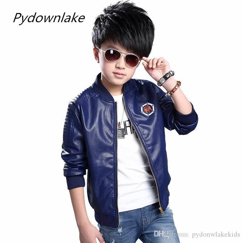 05476d9d5368 Boy PU Leather Jacket 2018 New Fashion Spring Children Jacket Zipper  Embroidery Boys Trendy Coat For 3 12 Year Casual Trench Clothing Boys  Lightweight ...