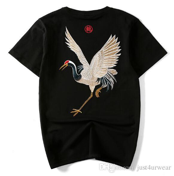 956f5e9d1a Acheter Tee Shirt Imprimé Décontracté Brodé Par Grue Pour Hommes De $38.4  Du Just4urwear | DHgate.Com