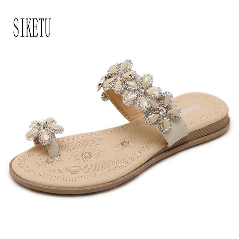 87103713323cfd Summer New Fashion Bohemian Sandals Flowers Diamonds Large Size Flats Shoes  Female Students Sandals Flip Flops High Heel Shoes Wholesale Shoes From  Yigu009