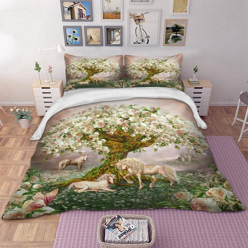 nature tree horse bedding set unicorn duvet cover quilt cover bed bedclothes pillow cases animal toddler bedding set navy blue duvet cover from newcute - Horse Bedding