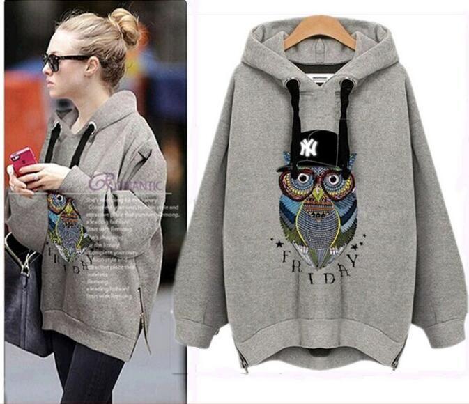 6b00abc493c 2019 Women S Oversized Hoodie Sweatshirt Owl Print Long Sleeve Fashion Hooded  Sweatshirt Hoodies Zipper Slit Sides KKA3821 From Jingjingliang no4