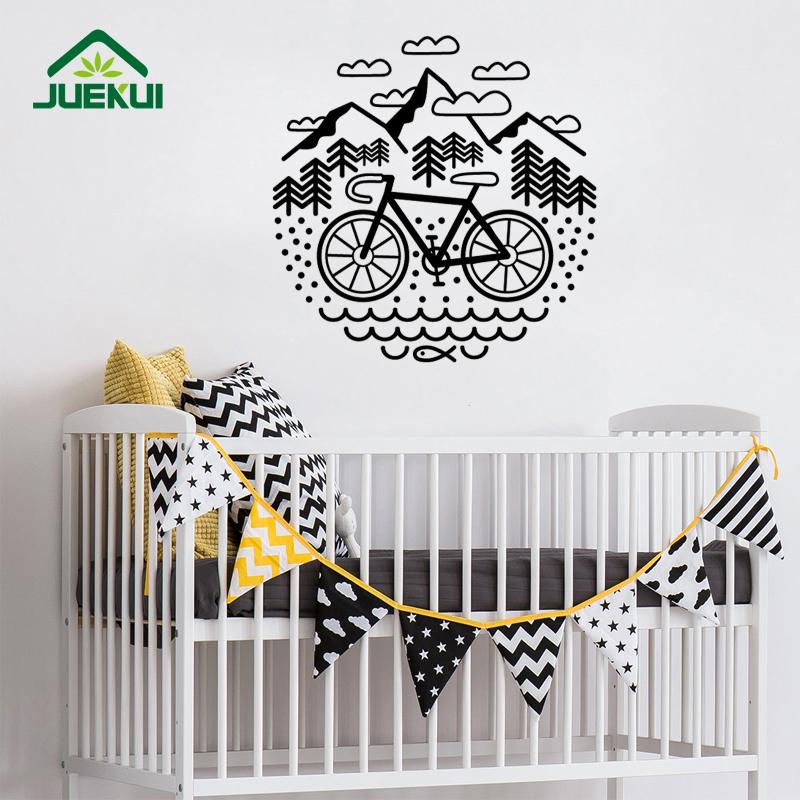 bicycle and mountains wall stickers for nursery bedroom art decor