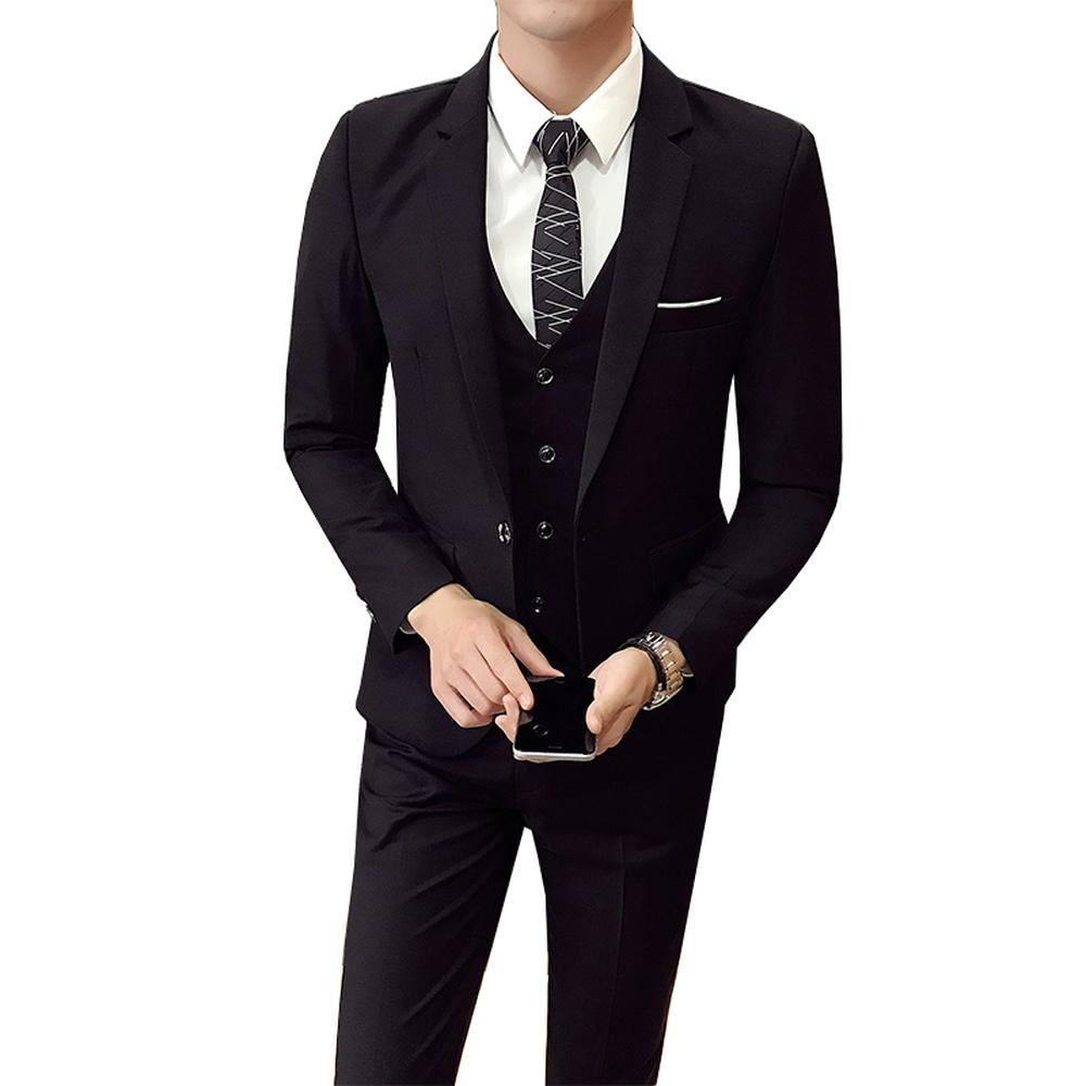 Compre Jacket + Pant + Vest Hombres Traje De Boda Masculino 3 Piezas Set  Versión Coreana Blazers Slim Fit Traje Formal De Negocios Fiesta Casual  D18101105 A ... e2473ee7c53b
