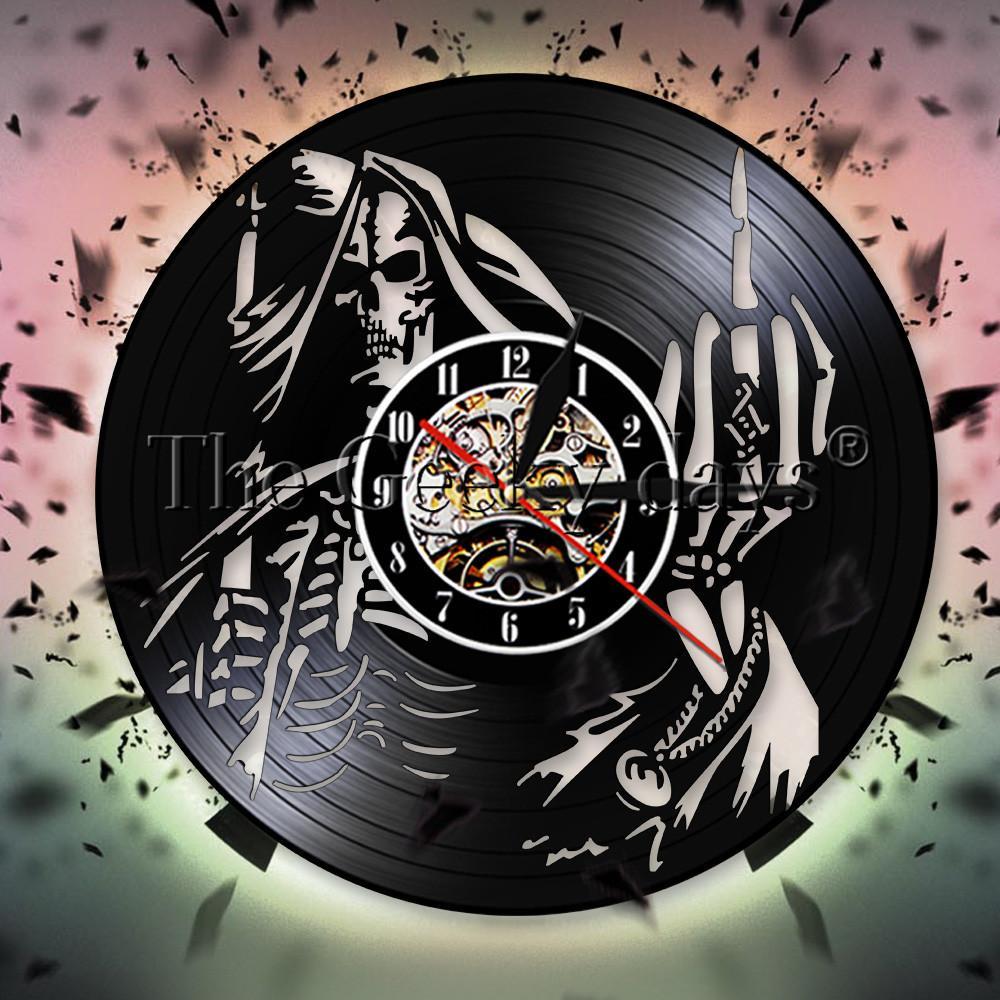 Para Regalo Vinilo Hogar Decoración Pared Esqueleto Hasta Spiral Bone Finger De Punk Tuyo Cráneo Dedo El Reloj Disco Medio f7yb6g