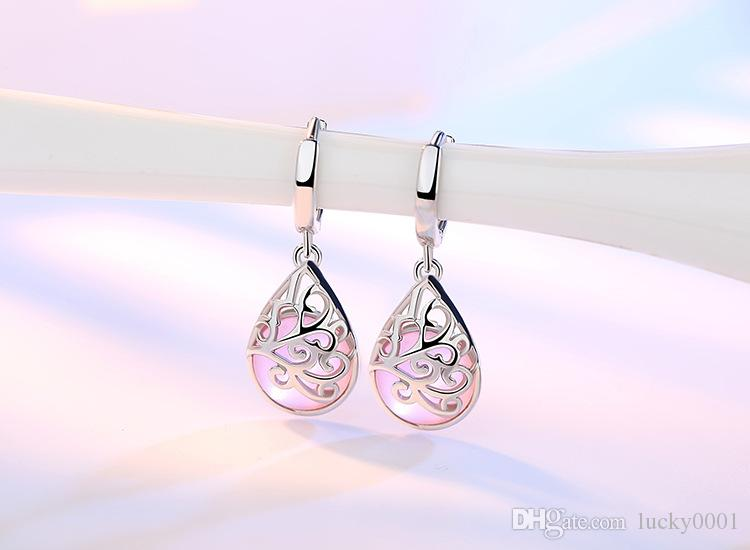 Seiko Moonlight Opal Totem Europe and the United States Silver Plated Ear Ornaments Earrings Earrings Women Fashion wishing pool earrings