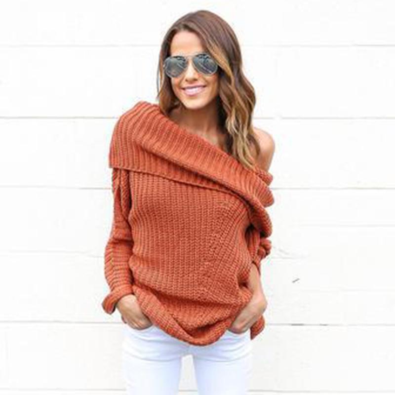 Großhandel Stricken Sie Häkeln Frauen Pullover Solid Langarm