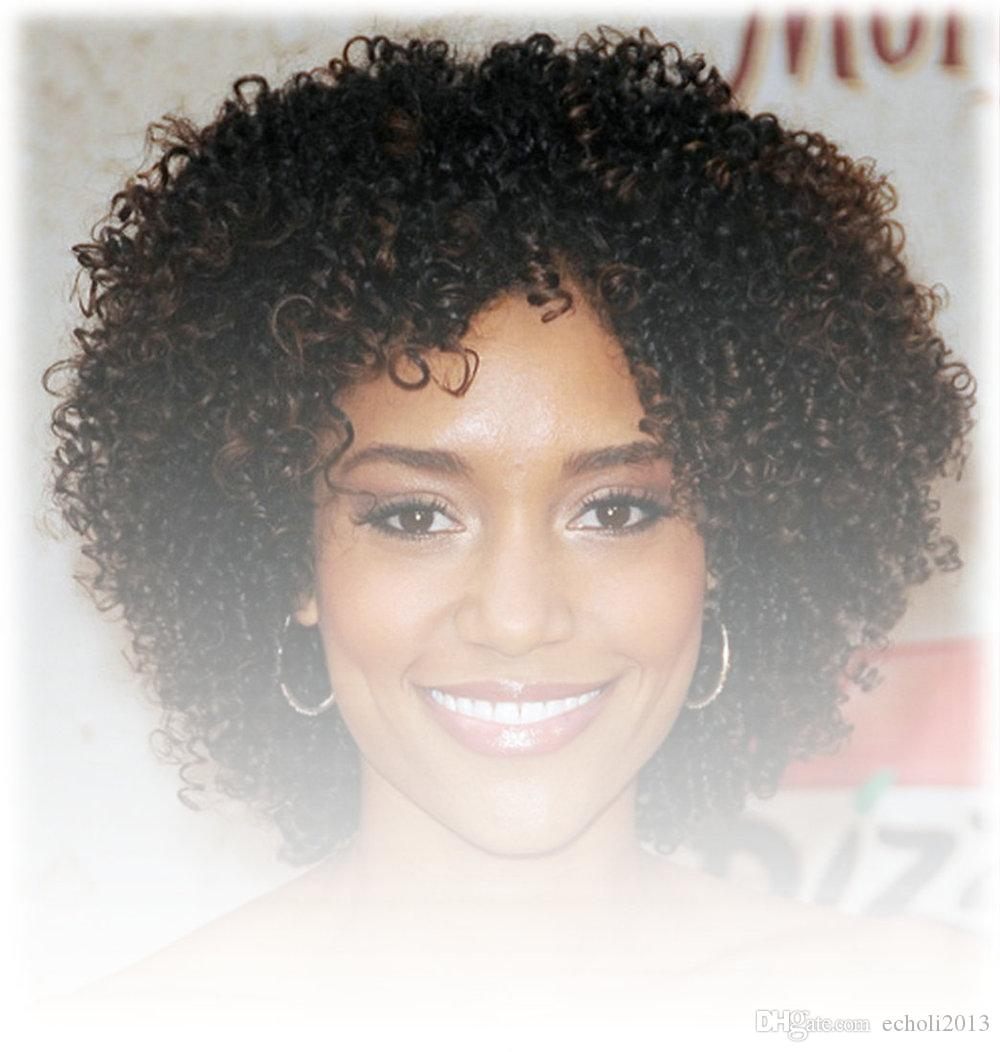 Short kinky curly lace front African human hair wigs for black women 10inch 130% density full lace wig free ship