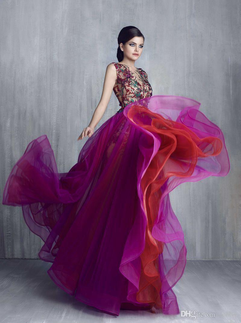 7c56431b72d6 Deasigner Luxurious Arabic Evening Dresses Long Sheer Neck Beaded Applique  A Line Fuchsia Evening Gowns Sexy Prom Dresses Formal Gowns China Buy Dress  ...