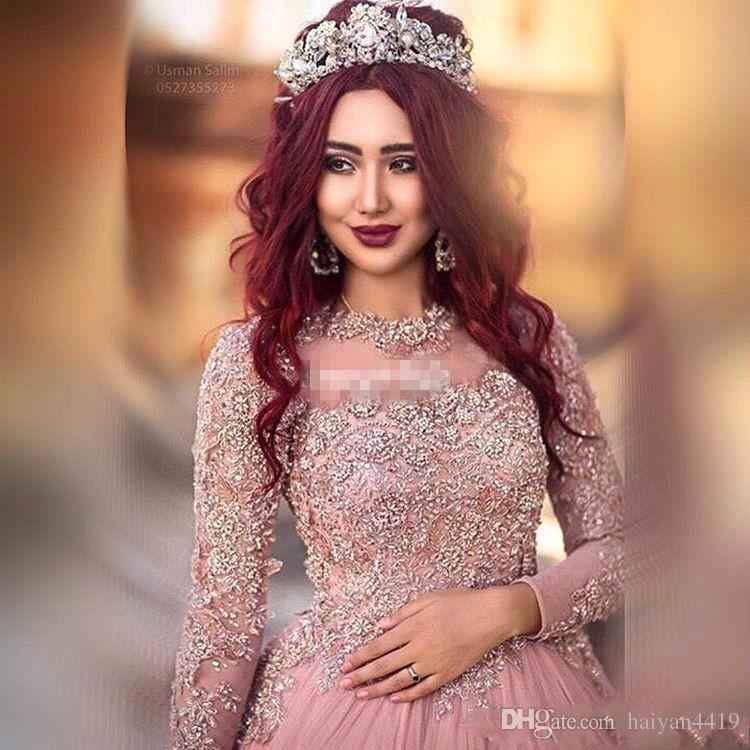 2019 Vestido de fiesta Manga larga Vestidos de noche Princesa Lentejuelas musulmán Con cuentas Ilusión Puffy Court Tren Baile de disfraces Alfombra roja Vestidos personalizados
