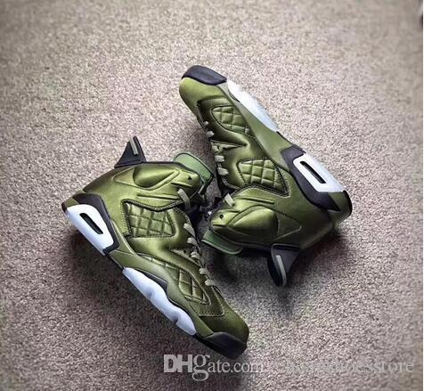5579f32068b5 Air 6 Flight Jacket Pinnacle Basketball Shoes Saturday Night Live Nylon  Army Green Sneakers AH4614 303 With Original Box Shoes Jordans Sneakers On  Sale From ...