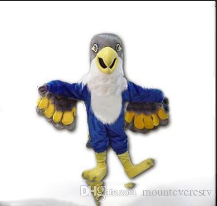 2018 Factory direct sale Blue Falcon Mascot Costume Cartoon Character Eagle  Bird Mascotte Mascota Outfit Suit Fancy Dress Suit