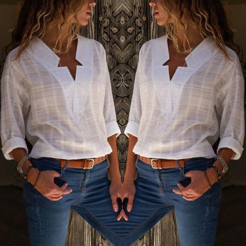 ee9e71d802e New Style Women White Blouse Shirt V Neck Long Sleeve Lady Fashion Casual  Blouse Shirt Tops Cotton Linen Shirt UK 2019 From Wanglon09