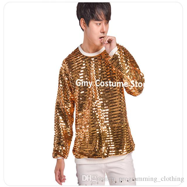 0afac2cdad Compre R14 Ouro Cor Lantejoulas Homens T Shirt Dj Masculino Stage Dress  Casaco Desempenho Passarela Vestir Veste Cantor Trajes De Dança Host Roupas  Rave ...