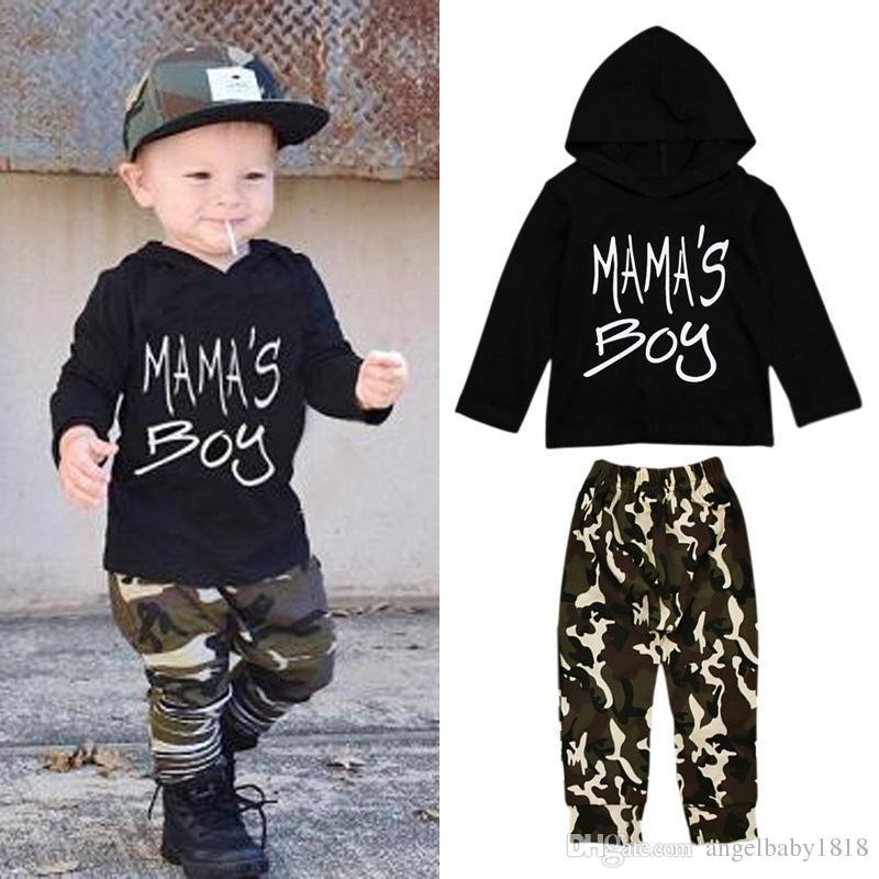Toddlers Boys camo abiti set nero mama's boy stampa a maniche lunghe T shirt con cappuccio + verde camo pantaloni abbigliamento casual 1-5 T